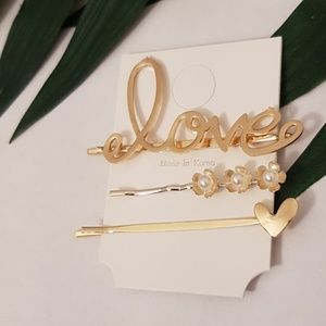 Love Bobby Pin Hair Clip Set Gold Heart & Flowers